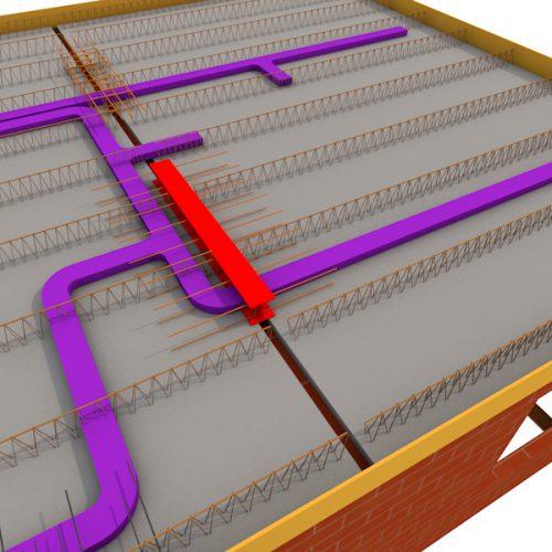 houdt minimaal 500mm afstand vanaf onderliggende constructie